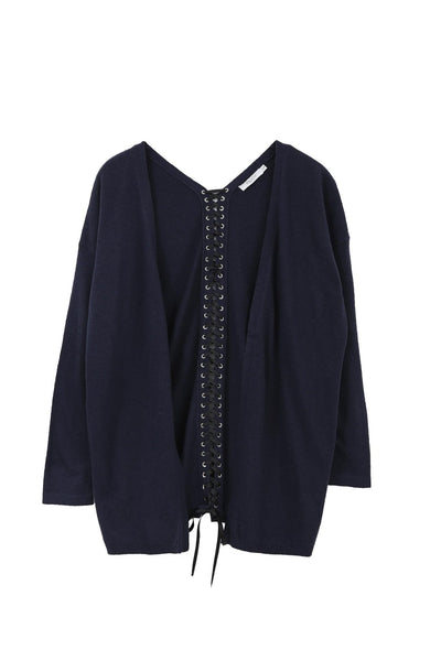 Lace-up Back Long Cardigan in Navy - Two Penny Blue