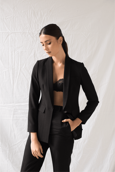 Lennox Blazer in Black - Two Penny Blue