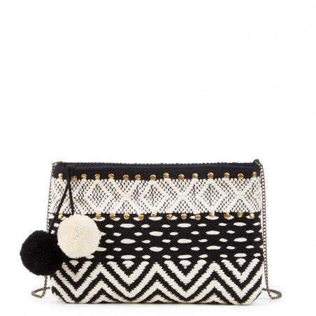 Lowell Woven Clutch with Poms