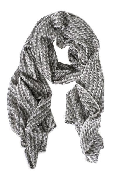 Luxe Basketweave Gray Cashmere Scarf - Two Penny Blue