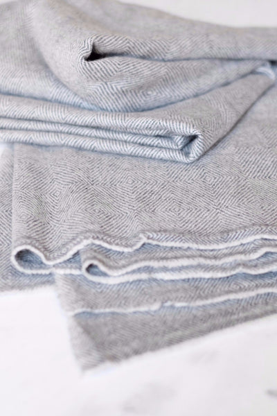 Luxe Cashmere Gray Herringbone Throw - Two Penny Blue