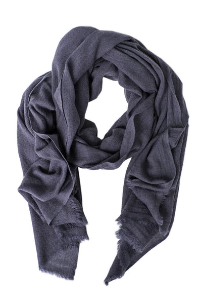 Luxe Charcoal Gray Cashmere Scarf - Two Penny Blue