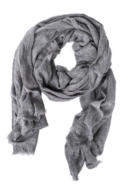 Luxe Heathered Gray Cashmere Scarf - Two Penny Blue