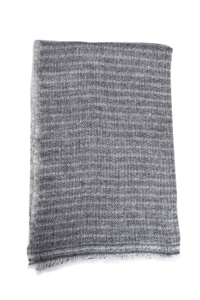 Luxe Herringbone Gray Cashmere Scarf - Two Penny Blue