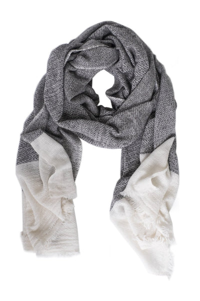 Luxe Ivory Tipped Gray Cashmere Scarf - Two Penny Blue