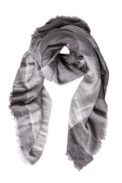 Modern Gray Plaid Blanket Scarf - Two Penny Blue