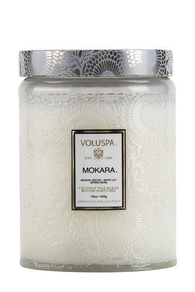 Mokara Large Embossed Jar Candle - Two Penny Blue