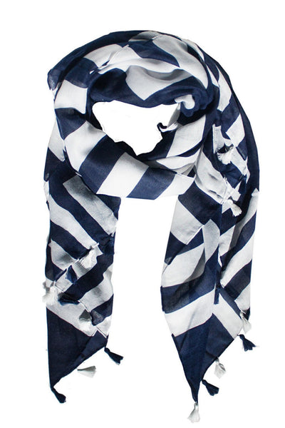 Navy and White Stripe Tassel Scarf - Two Penny Blue