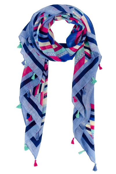 Printed Aztec Tassel Scarf - Two Penny Blue