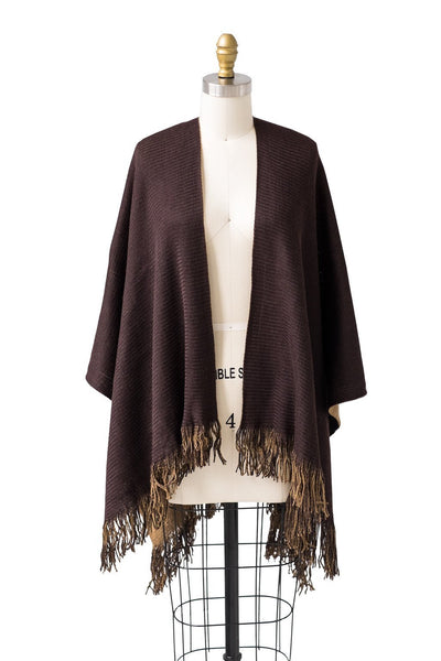 Reversible Uptown Cape in Camel and  Mocha - Two Penny Blue