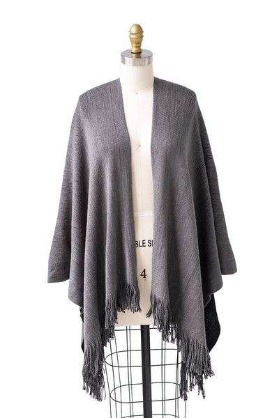 Reversible Uptown Cape in Charcoal | Black - Two Penny Blue