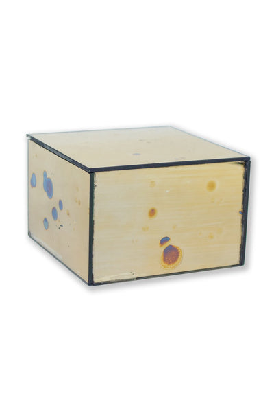 Square Arte Gold Mirrored Box - Two Penny Blue