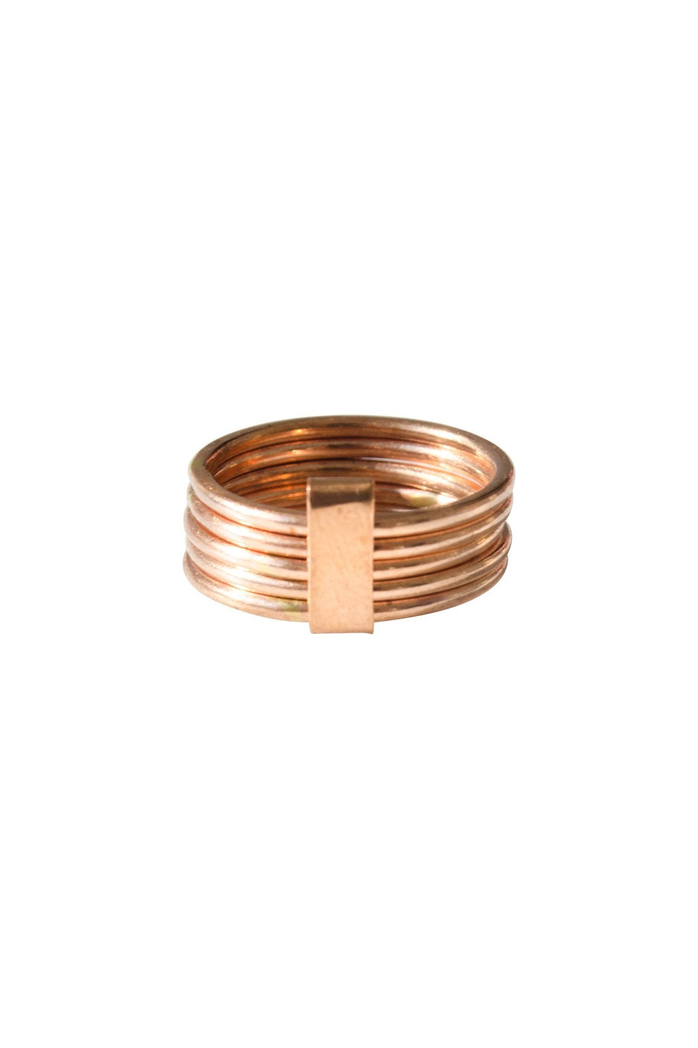 Stacked Five Band Bronze Ring - Two Penny Blue
