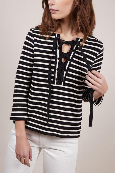Striped 3/4 Length Sleeve Lace Front Top in Black and White - Two Penny Blue