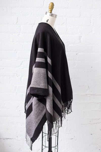 Striped Cape in Black - Two Penny Blue