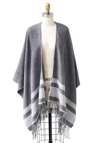 Striped Cape in Gray - Two Penny Blue