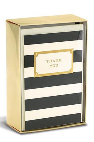 Thank You Striped Stationary - Two Penny Blue