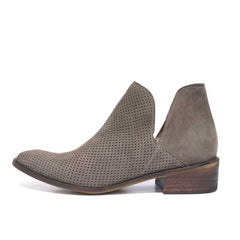 Thar Hand-Crafted Perforated Leather Bootie in Taupe