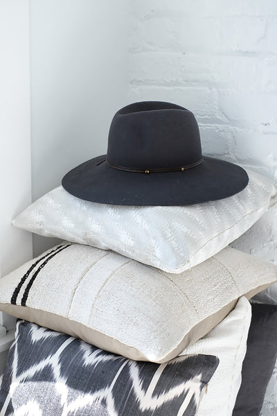 Wide Brim Fedora with Leather Trim - Two Penny Blue