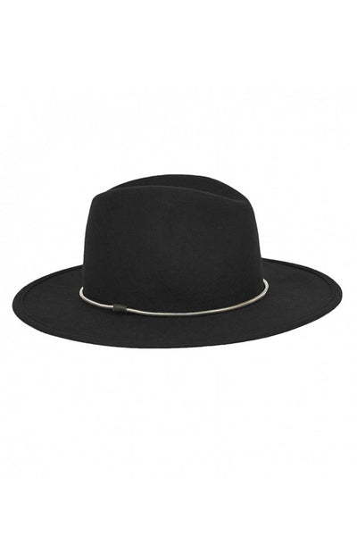 Wide Brim Fedora with Silver Chain - Two Penny Blue