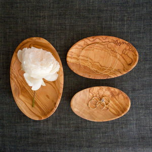 Oval Olive Wood Stacking Dishes- set of 3
