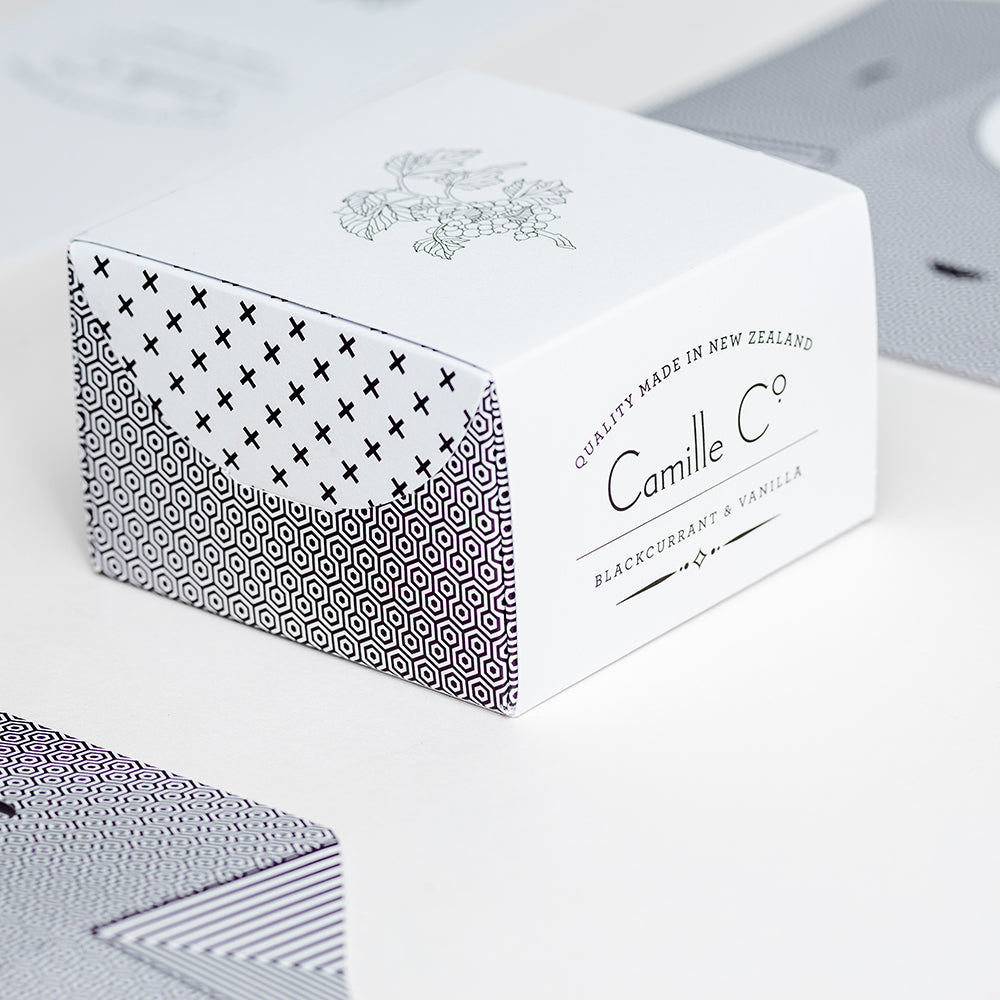 camille co blackcurrant and vanilla soap packaging design luxury made in new zealand shop local small