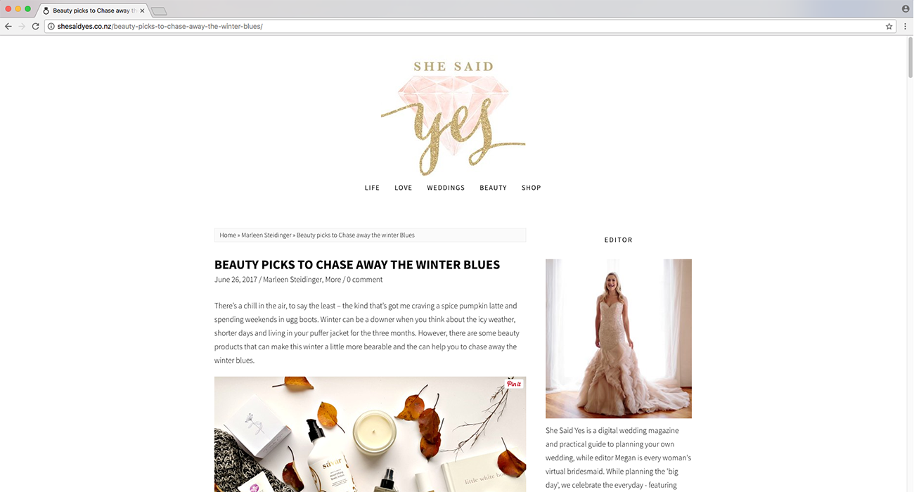 she said yes blog post the beauty context camille co New Zealand Auckland luxury soy candle
