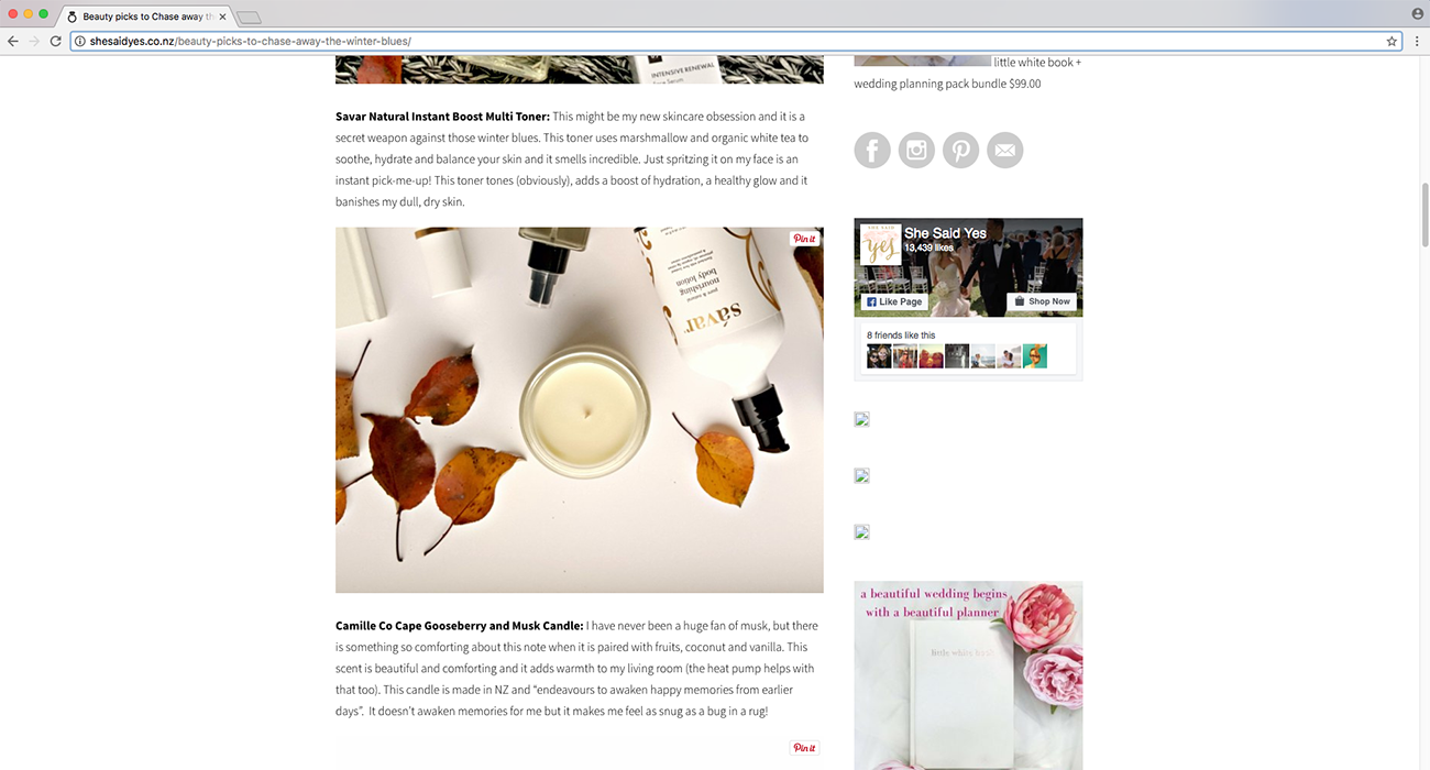 she said yes wedding blogger the beauty context blog post camille co chase away winter blues luxury soy candle Auckland New Zealand