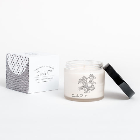 Blackcurrant and Vanilla Soy Candle by Camille Co. Packaging