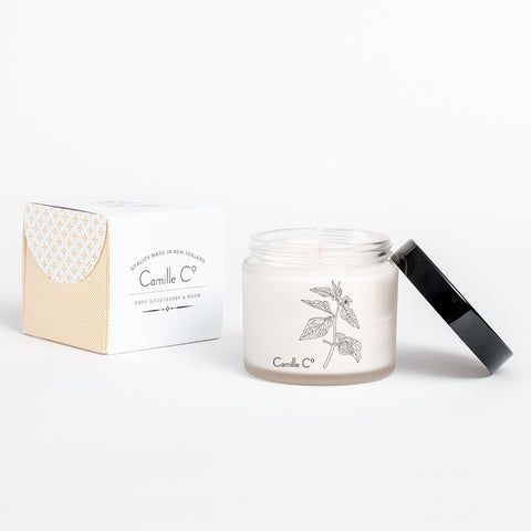 Cape Gooseberry and Musk Soy Candle Packaging by Camille Co.