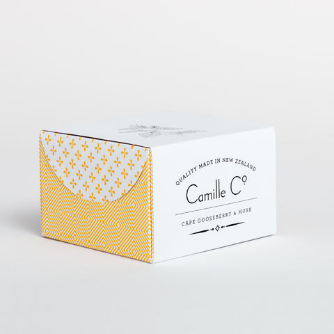 Cape Gooseberry and Musk Soap Packaging by Camille Co.