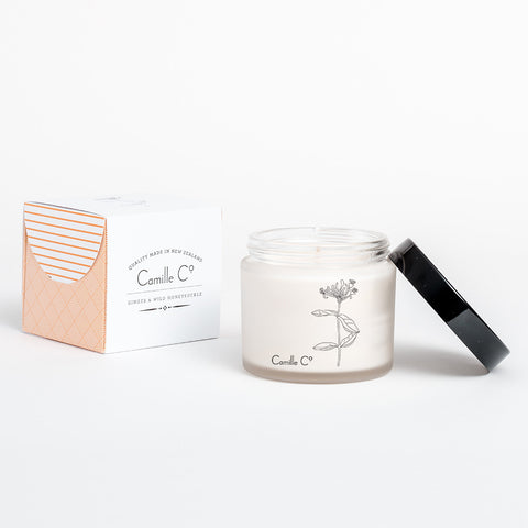 Ginger and Wild Honeysuckle Soy Candle by Camille Co. Packaging