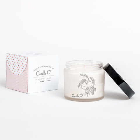 Warm Amber & Peach Soy Candle Packaging by Camille Co.