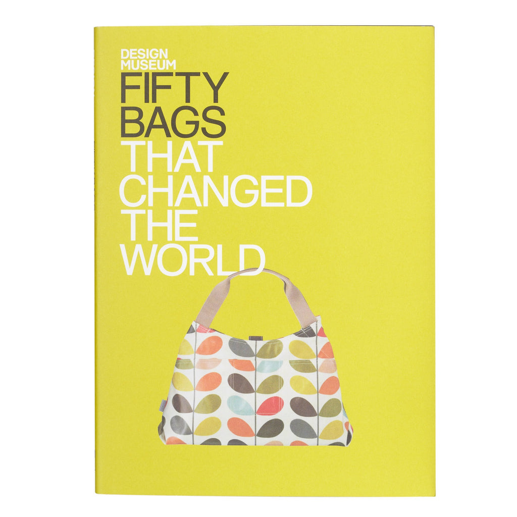 Book Cover 50 Bags That Changed The World By Design Museum the hardcover book has a yellow dust jacket featuring Orla Kiely's classic Multi Stem print bag