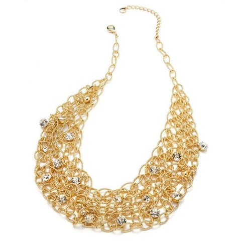 Alfani Gold Tone Crystal Mesh Bib Necklace