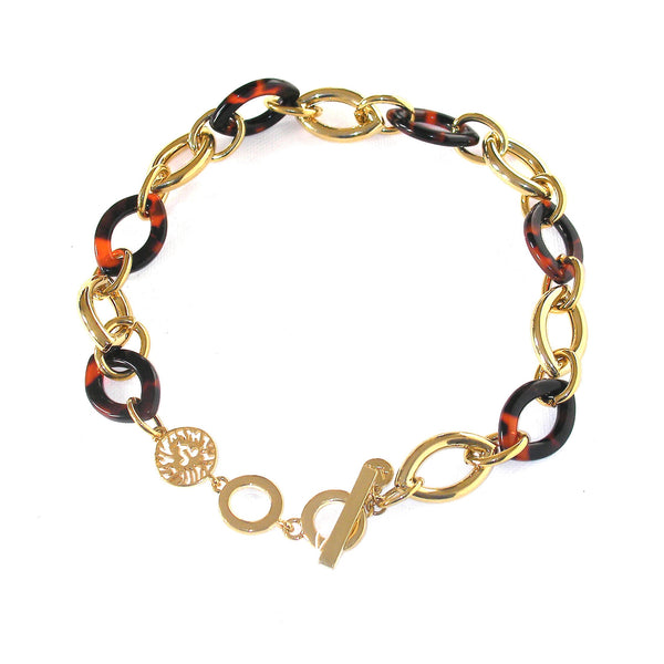 Anne Klein Tortoise Shell and Gold Tone Link Collar Necklace