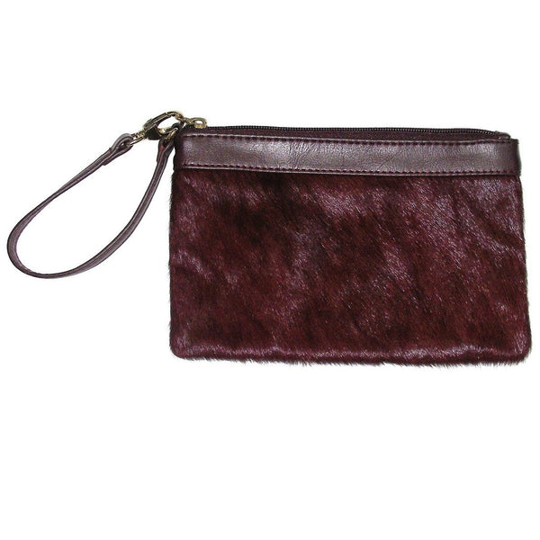 Aqua Madonna Calf Hair Leather Wristlet