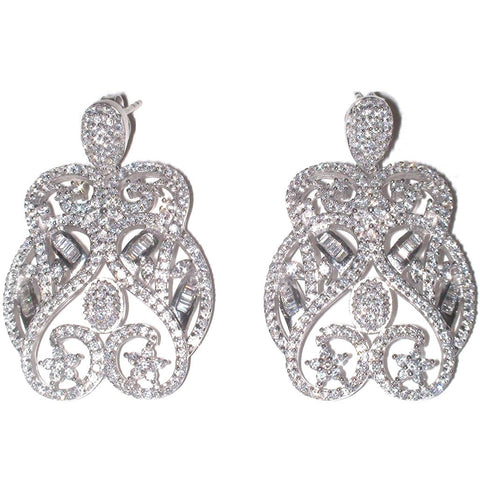 Audrey Sterling Silver Earrings with Simulated Diamonds