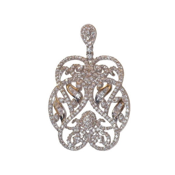 Audrey Sterling Silver Pendant with Simulated Diamonds