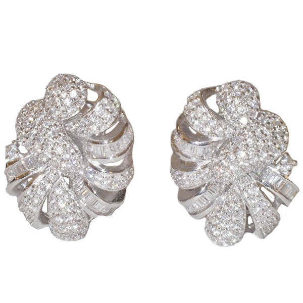 Audrey Sterling Silver Simulated Diamond Swirl Earrings