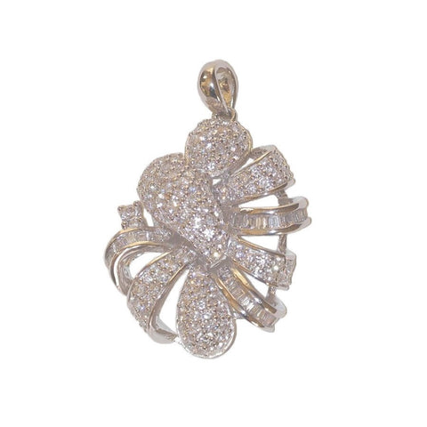 Audrey Sterling Silver Simulated Diamond Swirl Pendant