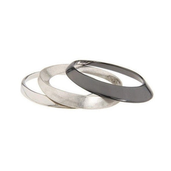 BCBGeneration Silver Tone 3 Piece Bangle Set separated view