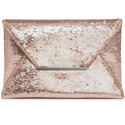 BCBG MAXAZRIA Harlow Sequin Envelope Clutch Rose Pink