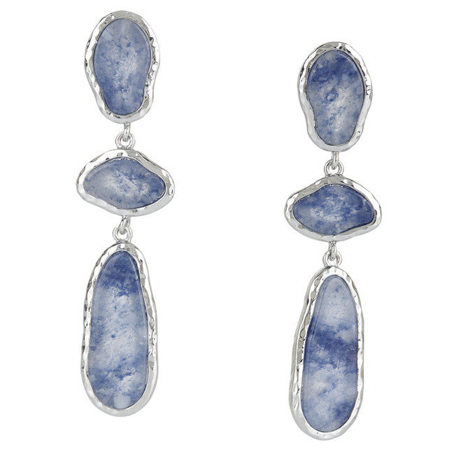 BCBG Blue Natural Stone Earrings in Hammered Silver