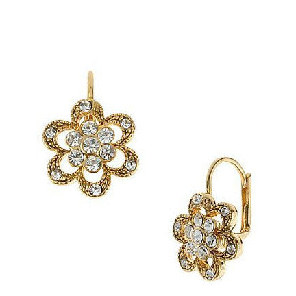 Betsey Johnson Floral Crystal Pave Earrings 1