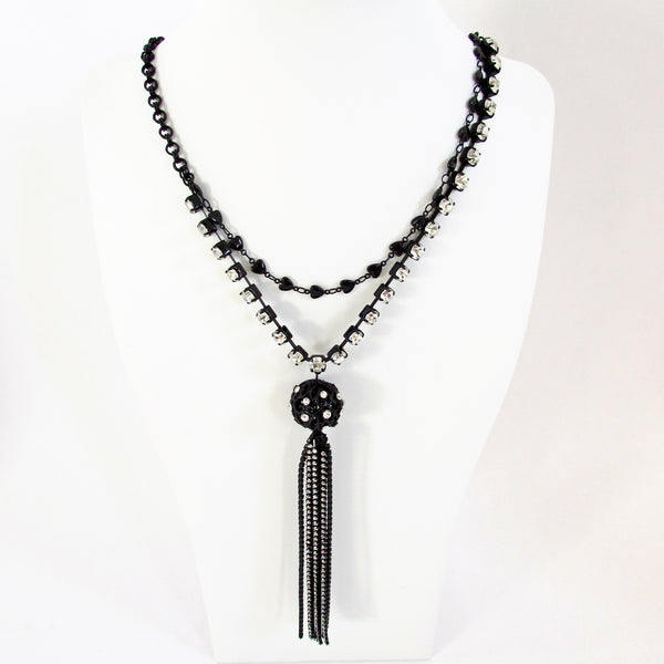 Betsey Johnson Filigree Orbit Crystal Tassel Necklace