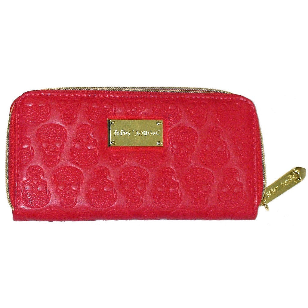 Betsey Johnson Princess Skully Zip Wallet