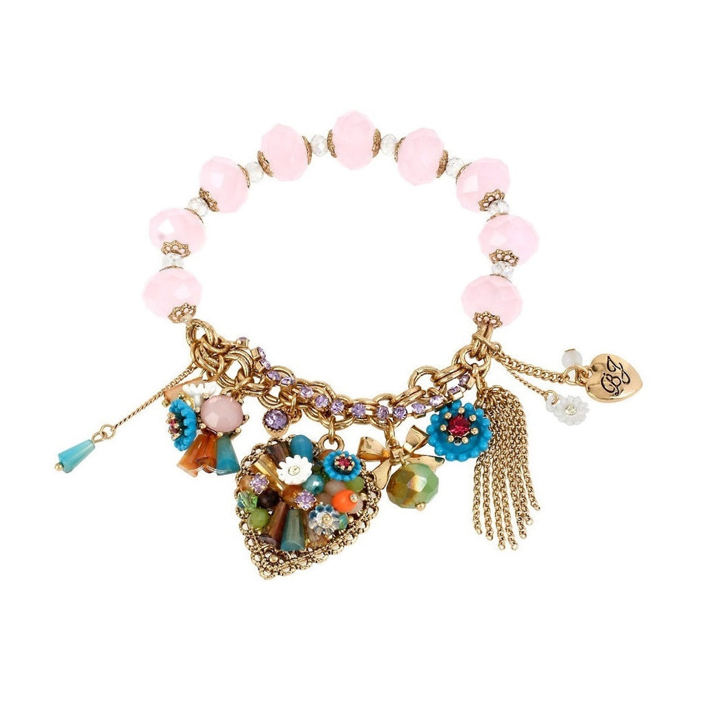 Betsey Johnson Weave and Sew Heart Charm Bracelet