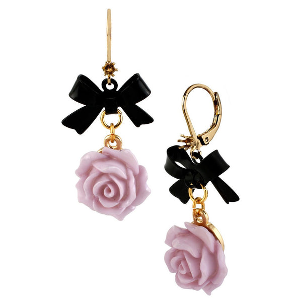 BETSEY JOHNSON Rose Drop Earring