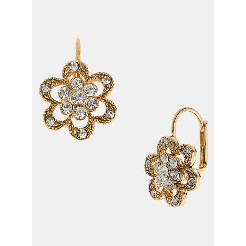 Betsey Johnson Floral Crystal Pave Earrings
